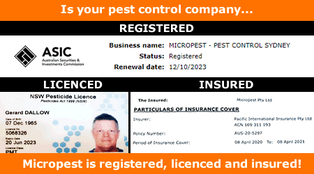 Micropest - Pest Control Sydney. Registered Licenced Insured